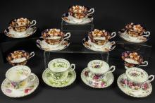 Seven Royal Albert cups, 'Heirloom' pattern cups; five Royal Standard saucers, similar; and four Royal Albert 'Flower of the Month' series duos (20)