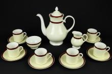 A Royal Grafton fine bone china part coffee set, 'Summer Wine', comprising coffee pot & lid, milk jug, sugar bowl, six coffee cups and six saucers (qty)