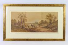English School - ploughman and cottages, watercolours, 53 x 23.5cm