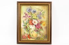 H. Lenz - still life of flowers in vase, oil on board