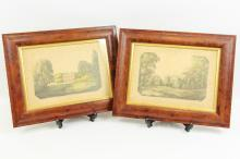 A pair of Georgian watercolour & pencil drawings, views of a country house and church, on embossed framed paper, signed indistinctly, 26.6 x 19.5cm (2)