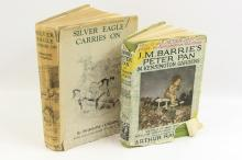 Books - Silver Eagle Carries On, Primrose Cumming, illustrated by C.G. Trew, 1940, Adam & Charles Black, London; together with Peter Pan in Kensington Gardens, J.M. Barrie, illustrated by Arthur Rackham, retold by May Byron, with dust jacket, published by Hodder & Stoughton, c1930 (2)