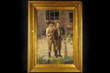 T. Robertson? - two boys standing with apple tree, oil on canvas, signed indistinctly, 57.5 x 87cm approx.