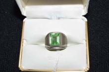Sterling silver emerald cut synthetic August Gents Ring size 6