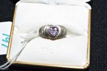 Sterling silver heart shape amethyst ring size 7