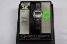 Watch, Caravelle quartz, ladies' watch, with LCD digital display, Model 47L10, silver tone with bracelet band