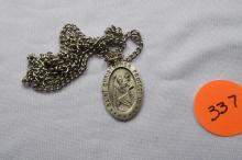 Necklace, Sterling Silver, Saint Christopher's medal+B441