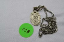 Necklace, Sterling Silver, Saint Christopher's medal