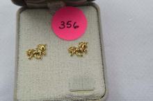 Earring, gold filled Horses