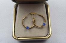 Earrings, gold filled hoops with synthetic sapphire
