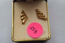 Earrings, gold filled swirl
