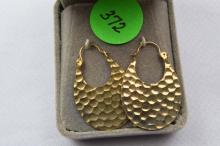 Earrings, hammed gold filled hoops