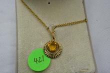 Necklace, gold filled with synthetic Topaz
