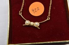 Necklace, gold filled with synthetic pearl accents