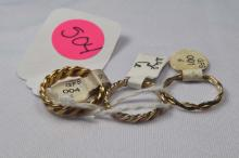 Rings, (3) ladies gold filled, size 6