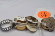 Rings, (2) ladies gold filled, (1) men's sterling silver and (1) gold filled bands, size 5