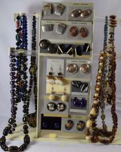 Costume jewelry; 10 beaded necklaces, 15 pair of earrings, matching necklaces to earrings