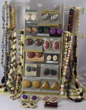 Costume Jewelry; 15 beaded necklaces, 17 pair of earrings, matching necklaces to earrings