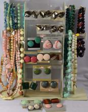 Costume Jewelry; 24 beaded necklaces, 17 pair of earrings, matching necklaces to earrings