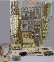 Costume Jewelry; 24 beaded necklaces, 20 pair of earrings, 1 hair clip, 3 pins