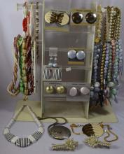 Costume Jewelry; 31 beaded necklaces, 7 pair of earrings, 2 hair clips