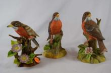 Set of 3 porcelain bird figurines, Robins, Tallest is about 5 1/2