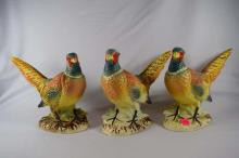 Set of 3 ceramic Rooster Pheasants.  Approximately 7