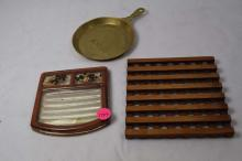 wooden trivet, glass ashtray, Mackinaw Bridge pan