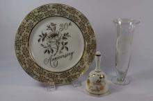 30th Anniversary plate, bell, sun catcher and glass