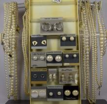 Costume jewelry; 12 beaded necklaces, 12 pair of earrings