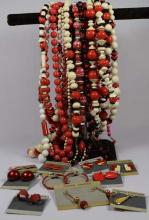 Costume jewelry; 26 beaded necklaces, 10 pair of earrings