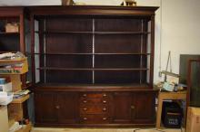 Mahogany hutch, four drawers, two double doors, three shelf's, glass doors (doors need repair), other minor repairs needed. Shelf's are 7'10