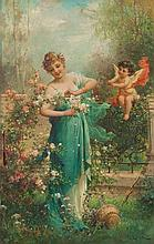 HANS ZATZKA - FLOWER GIRL - Oil on panel