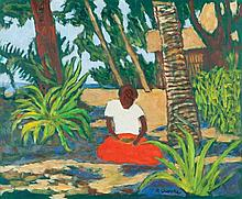 RAY CROOKE - UNDER THE COCONUT PALM - Oil on board