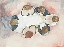 DOROTHY BRAUND - THE DINNER PARTY - Watercolour and gouache