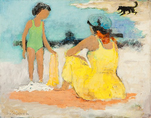 IRWIN CROWE (1908-2003), AT THE BEACH, Signed &
