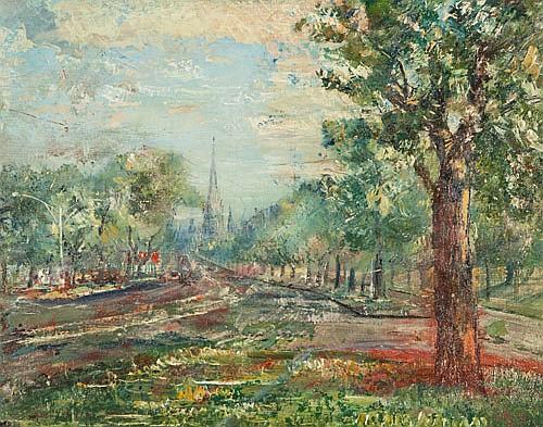 HARALD VIKE (1906-1987), STREETSCAPE c.1960,