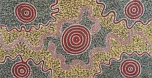 PANSY NAPANGATI (c.1948-2006)  TWO SNAKES DREAMING AT PIKILLYI  Western Desert Aboriginal Ar