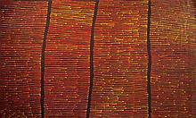 RONNIE TJAMPITJINPA (B.c1943)  FIRE DREAMING  Artlandish Gallery Certificate. Catalogue numb