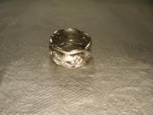 Gorgeous Antique 14K White Gold Ornate Diamond Swirl Eternity Wedding Band Ring