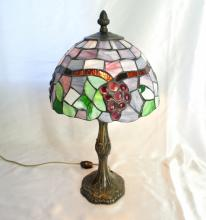 Mid-Century Tiffany Style Slag Glass Candlestick Table Lamp W/Metal Base & Rotary On-Off In-line Switch