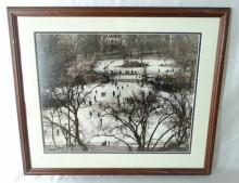 Vintage Framed Photograph of Skating on Boston Public Garden 1922 From The Brearley Collection of Rare Negatives