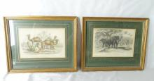 Pair of Antique Framed Prints From Oliver Goldsmith's