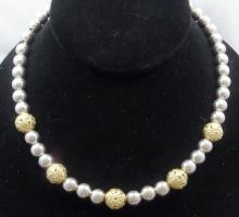 Vintage Solid Sterling Silver Ball Chain Necklace W/Vermeil Accents & Grecian Designs