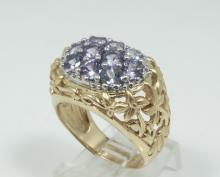 Solid 14K Yellow Gold Ring W/2CTW Tanzanite