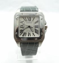 Men's Cartier Santos 100 XL Model: 2656 W/Cartier Alligator Band *RARE COLOR* (Est: $6900)