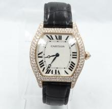 Men's Cartier 18K Rose Gold Tortue Model: 37354 W/Factory Diamonds, ALL ORIGINAL Cartier Comes W/Box & Papers (Est: $47,400)