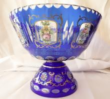 19th C. Bohemia Blue Glass Bowl W/Fluted Base & Hand-Painted Enamel Details *Stunning*