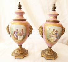 Pair of 19th Century Sevres Light Pink Bronze Mounted Figural Handled Urns W/Hand Painted Scenes & Gilt Gold