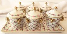 Service for (6) Dresden Porcelain Coffee/Tea Service Set W/Lidded Cups & Gilt Gold Bronze Mounted